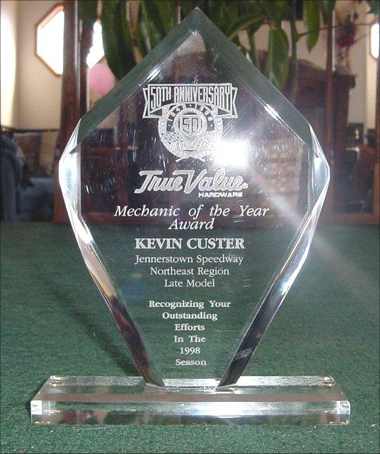 1998 NASCAR Northeast Region True Value Mechanic  of the Year for Jennerstown Speedway